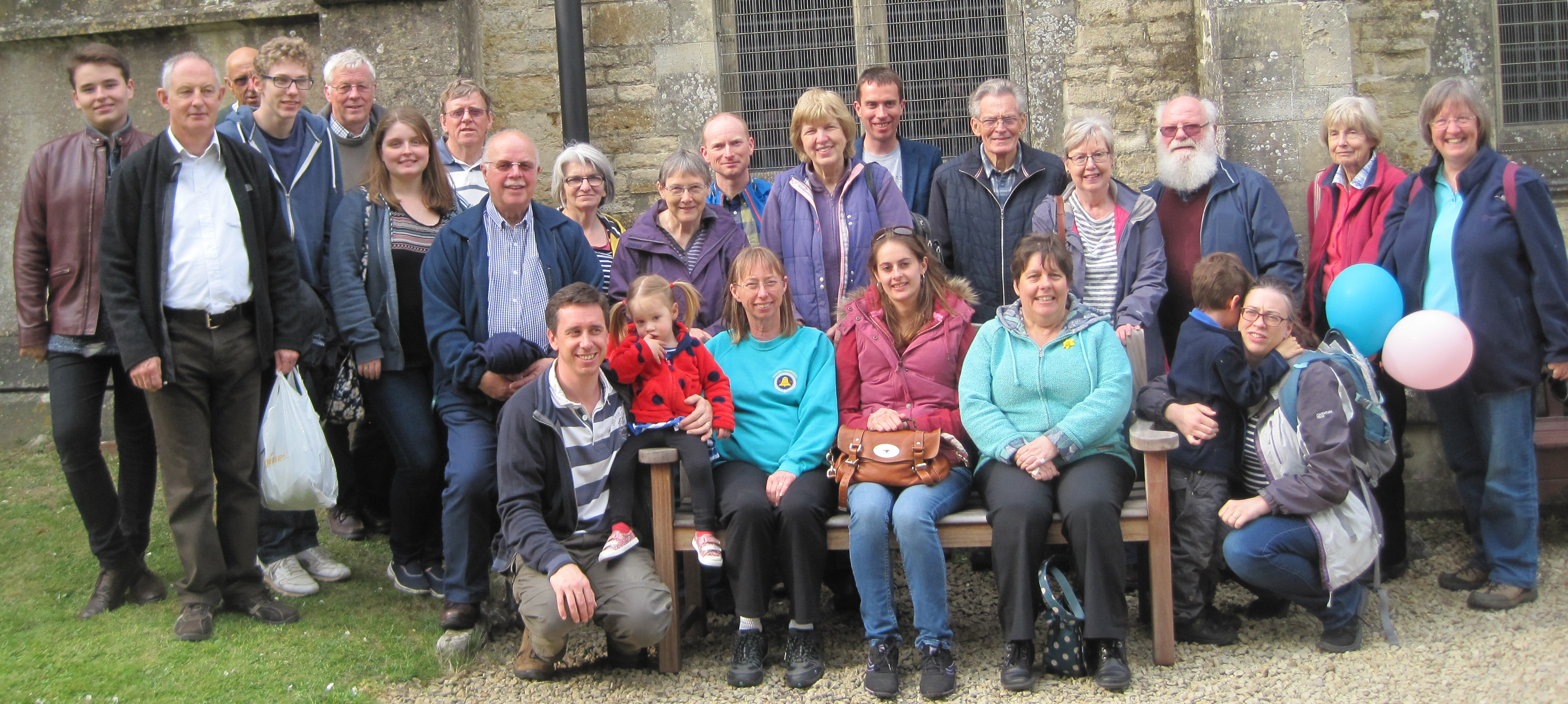 Exeter branch members at the 2017 train outing along the Waterloo line, with ringing at Axminster, Sherborne Abbey, Templecombe and Gillingham.