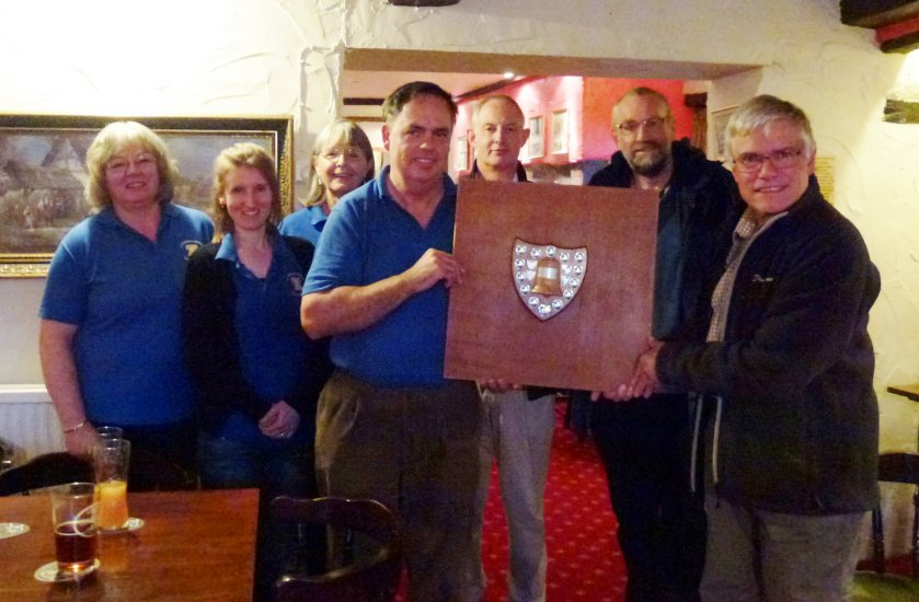 The St Peter's Shield being presented to the Cullompton team.